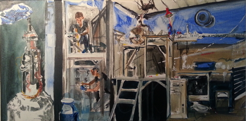 The apparatus in use on the ASTRID synchrotron storage ring at Aarhus University. (From a painting by Catherine).